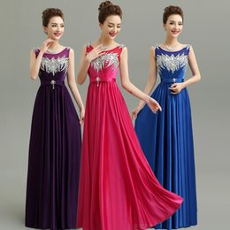 Wholesale Beads Colour - 2017 New Shining Sequins Bridesmaids Dresses With Crystals 9 Colours Sheer Neck Lace Up Back Formal Dresses Long Cheap Bridesmaid Dress