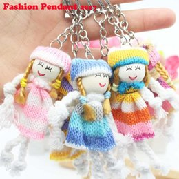 Wholesale Santa Claus Plates - Novelty Cartoon Woolen doll Keychain child Cute Animal Santa Claus bag key chain keyrings women Christams gift