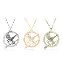 Wholesale Mockingjay Hunger Games Pendant - Hunger Games Necklaces Inspired Mockingjay And Arrow Pendant Necklace, Authentic Prop imitation Jewelry Katniss Movie The Hunger Games