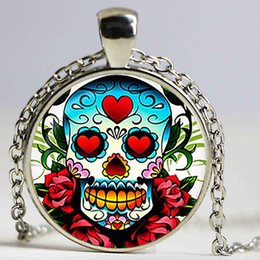 Wholesale Christmas Sugar - Dia de los muertos Glass pendant. Day of the Dead necklace. Sugar Skull jewelry, birthday gift sliver plated,christmas gift