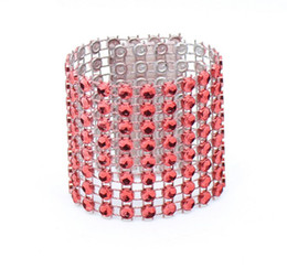 Wholesale Diamond Napkin Holders - Wholesale- 20pcs 8 Rows Red Diamond Mesh Wrap Napkin Ring Serviette Buckle Holder For Wedding Party Birthday Table Decoration
