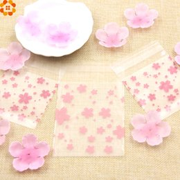 Wholesale Plastic Snacks - Hot!100PCS Lot 3Sizes Lovely Pink Cherry Blossoms Cookie&Candy Bag Self-Adhesive Plastic Bags For Biscuits Snack Baking Package
