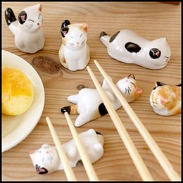 Wholesale Chopstick Bamboo - Wholesale- by DHL or EMS 30 sets Lucky cat, ceramic chopsticks rack frame, cartoon chopsticks rest, flatware, 6pcs set