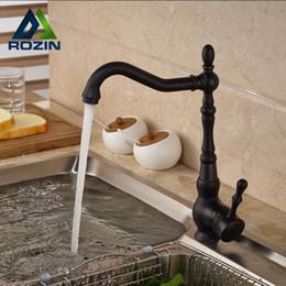Wholesale Oil Rubbed Bronze Vanity Faucets - Wholesale- Deck Mount Countertop Bathroom Kitchen Vanity Sink Faucet Single Handle Kitchen Hot Cold Water Taps