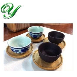 Wholesale Tea Cup Holders Stands - Wooden Round Coaster Set mini teacup holder stand Square Tea Saucer Plate Chinese kungfu tea cup sets serving tray tea ceremony accessories