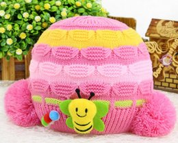 Wholesale Baby Bee Hat - 2016 new style Little bee Double ball Knitted cap for children Stereo jacquard cap Add cashmere winter warm knitting cap 1m-1.5y baby