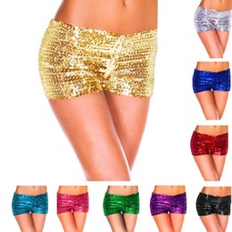 Wholesale Sexy Hip Hop Dance Costume - 9 Candy Colors Women's Short Pants Sequin Shiny Shorts Hip-hop Sexy Pole Dance Costume Nightclub Wear