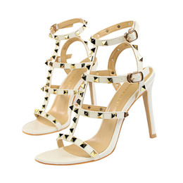 blue shoes band Promo Codes - 2019 womens slingbacks designer gladiator sandals women rivet shoes black red nude white italian brand sexy extreme high heels pumps