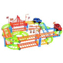Wholesale Race Rails - New Arrival Erencook Electronic Racing Car track Kids Toy Childrens Game Boys Xmas Gift Rail Building Block Toy