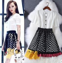 Wholesale Skirt Shirt Sets Women - 2PCS Set Women New 2017 pullover T-Shirt Tops + Pinting Skirt Sets Big Girl Summer Short sleeve Sets Women Casual Two Piece Sets M50512