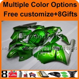 Wholesale Motorcycle Fairing Covers - 8Gifts+Tank cover green silver flames ABS article ZX12R 2000 2001 motorcycle Fairing Set for Kawasaki Ninja