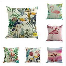 Wholesale Animal Cushion Covers - Decorative Square Pillowcase Print Sofa Animals Red Crown Crane Linen Cotton Pillow Covers Sofa Pillow Case Car Seat Cushion Cover