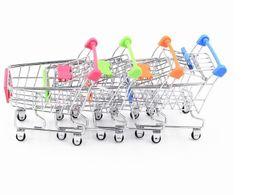 Wholesale Supermarket Shopping Cart Toy - Wholesale 6 color Mini Supermarket Handcart Utility Shopping Cart Mode Storage Organizer Chidren Gift Kids Toy Christmas