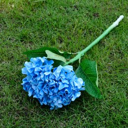 Wholesale Wholesaler Latex Material - Blue Hydrangea Wedding Decorative Artificial Flowers 19.6'' Hydrangea Touch 16 Pcs lot PU Latex Material China Cheap Home