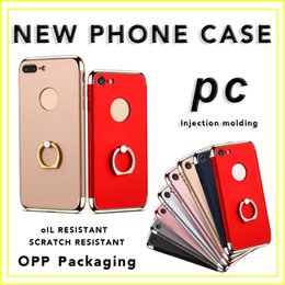 Wholesale Clips For Plating - For iphone7 Phone Case Plating Three-stage 7plus All-inclusive PC Hard Case Three-in-one Ring Buckle Bracket Wholesale with Opp Package