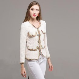 Wholesale Career Jackets - Slim Career 2018 Women European New Autumn Full Sleeve Luxury Colorful Lacing Button White Fashion Designer Short Jacket