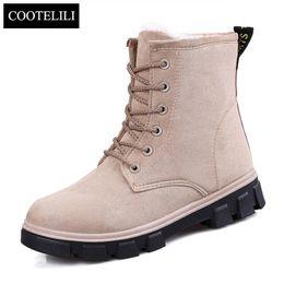 Wholesale Short Suede Flat Boots - Wholesale- 35-40 Plus Size Short Plush Winter Ankle Boots For Women Fashion Casual Leather Rubber Flat Shoes Warm Fur Snow Boots Female