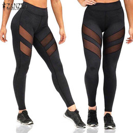 Wholesale Hot Woman Sexy Animals - Wholesale- Sexy Mesh Patchwork Fitness Leggings ZANZEA Women Pants 2017 Ladies Casual High Elastic Waist Leggings Trousers Hot Sale