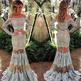 Wholesale Over Shoulder Long Dress - Boat Neck Long Sleeves Sheer Two Pieces Lace Evening Dresses Light Blue over Nude Mermaid See Through Skirt Prom Dress Custom Made