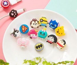 Wholesale Headphone Cartoons - 500pcs lot Cartoon USB Cable Earphone Protector headphones line saver For Mobile phone charging line data cable protection