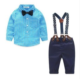 Wholesale Baby Boy Suspender Trousers - Baby Boy Clothes 2016 Spring New Brand Gentleman Plaid Clothing Suit For Newborn Baby Bow Tie Shirt + Suspender Trousers