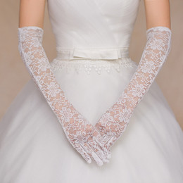 Wholesale Ivory Elbow Length Wedding Gloves - In Stock Free Shipping Ivory and Red Below Elbow Length Lace Full Finger Appliques Beads Gloves Short Bridal Wedding Gloves