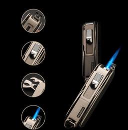 Wholesale Lighter Bottle Opener Wholesale - Multi-function Emissary Easy Slide Switch Jet Flame Butane Torch Multi-Tool Lighter Knife Bottle Opener for Cooking Welding Soldering