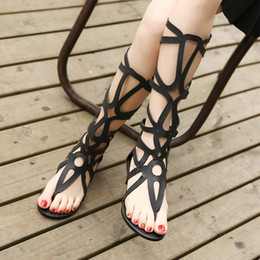 Wholesale Sexy Flat Boots - SUMMER STYLE knee high sandals shoes women fashion women boots sandal shoes woman sexy summer women shoes gladiator sandals