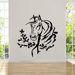 Wholesale Abstract Horse - 2017 Hot Sale Personality Art Wall Room Decor Art Vinyl Sticker Mural Decal Horse Head Mustang Big Large DIY