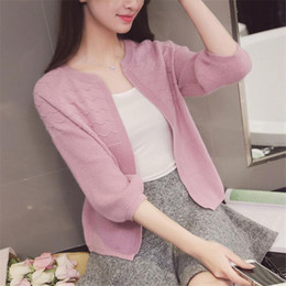 Wholesale Thin Long Short Sleeve Cardigan - Wholesale- 2016 New Casual Autumn Winter Knitted Sweaters Women Three Quarter Sleeve Short Cardigan O-Neck Casual Solid Sweaters Lady