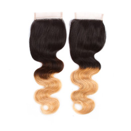 Wholesale Brazillian Hair Body Wave 1b - New Brazillian Body Wave Lace Closure 4x4 Free Middle Part Color 1B 4 27 30 Ombre Human Hair Brazilian Body Wave Top Closure