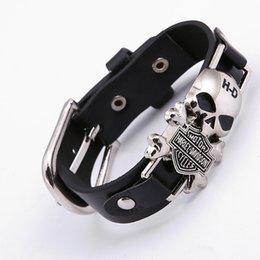 Wholesale Skull Link Bracelet - 2017 Rider Harley Motor Cycles Punk Skull Rivet Men Bracelets Wide Leather Bracelet Retro Cuff Rivet Bangles Cowboy