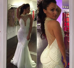 Wholesale Green Purple Natural Decorations - 2017 Fascinating White Sleeveless Mermaid Evening Dresses Floor-Length Satin Evening Gown Pearls Decoration Party Gowns HY1552