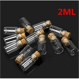 Wholesale Empty Message Bottles - 10PCS Lovely Small Bottle Tiny Clear Empty Wishing Glass Message Vial With Cork Stopper 16mm*35mm 2ml mini Containers