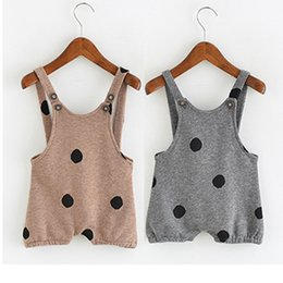 Wholesale Kids Overalls Pants - Kids Overalls Braces Shorts Cute Big Dots Spring Autumn Pants Boys Girls Rompers 1-3T Baby Overalls