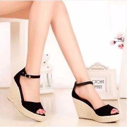 Wholesale Larger Women - Koovan Women Sandals 2017 New Summer Fashion Straw Wedge Sandal Platform Shoes Fish Head Shoes Woman Shoes Larger Size 32-43 Rome Sandals