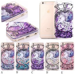 Wholesale Moving Case Iphone - For iphone 7 Colorful Moving Shining pegasus Stars Liquid Glitter Quicksand 3D Bling Phone Case Cover For Iphone 6s Plus