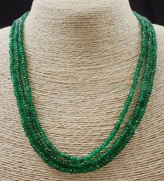 """Wholesale Emerald Abacus - GENUINENATURAL 3 Rows 2X4mm FACETED GREEN EMERALD ABACUS BEADS NECKLACE17-19"""" AA"""