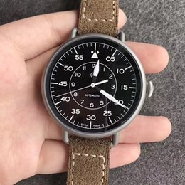Wholesale Genuine Leather Automatic Men Watch - 45MM VINTAGE WW1-92 HERITAGE MILITARY AUTOMATIC MEN WATCH SAPPHIRE CRYSTAL WATER RESISTANT WRISTWATCH STAINLESS STEEL GENUINE LEATHER STRAP
