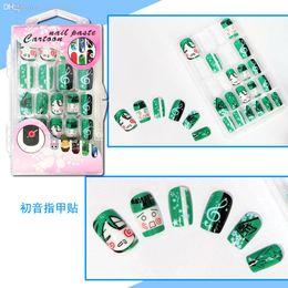 Wholesale Fake Nails Girls - Wholesale-24 pcs set Anime Hatsune Miku Cosplay Nail Sticker Fake Fingernails fake False Nails Art,Salon Makeup Set ,Girl Gift Free