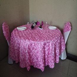 Mesas redondas casamentos on-line-Atacado-3D rosa flor branco toalhas de mesa redonda para casamentos