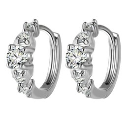 Wholesale Pave Hoops - New Pave AAA+ Crystal Zircon CZ White Gold Color Hoop Earrings Fashion Party Jewelry Bijoux for Women Festive Hot Gift