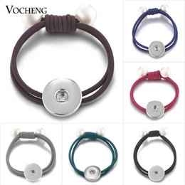 Wholesale Elastic For Jewelry - VOCHENG NOOSA Hair Bands Ginger Snap Jewelry Pearl Ponytail Holder Elastic 6 Colors for 18mm Button Charms NN-554