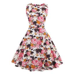 Wholesale Retro Print Skirt - Women Sleeveless Dress 1950s Vintage Prints Floral Dresses Retro Elegant Spring Picnic Skirts Cocktail Party Swing Dress