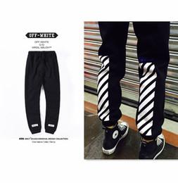 Wholesale Couples Pants - Wholesale- OFF White men's pants mother religious stripes movement jogger pants couple sweatpants plus velvet cotton cord cotton pants
