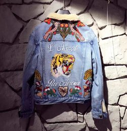 Wholesale Flower Embroidery Patterns - winter fashion brand New men women's jean coat jacket Unique style Embroidery flower butterfly tiger Cowboy jean women Long sleeve jumper