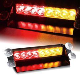 Wholesale Amber Safety Lights - 8 LED Car Dash Strobe Flash Light Emergency Warning Hazard Safety Drive Red Yellow