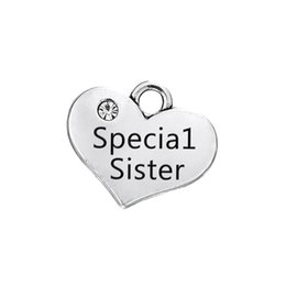 Wholesale Alloy Findings - Wholesale Vintage Alloy Heart Charms Special Sister,Big Sister,Middle Sister Message Charms Double Sided Finding Charms 15*17mm AAC1615