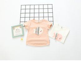 Wholesale Wholesale Cotton Fishing Shirts - 2017 INS NEW ARRIVAL Girls Kids t shirt short sleeve O-neck cute fish style kid causal shirt baby kid casual T shirt 2 colors