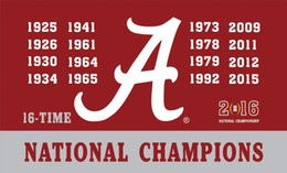 Wholesale alabama flags - Alabama Crimson Tide flags 16times champions 90x150cm polyester digital print banner with 2 Metal Grommets 3x5ft